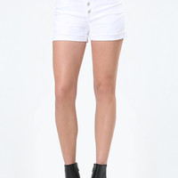 WHITE EXPOSED BUTTON SHORTS