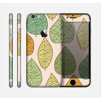 The Abstract Pastel Lined-Leaves Skin for the Apple iPhone 6