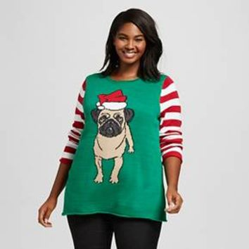 Women's Plus Size Pug Tunic Sweater - Ugly Christmas Sweater