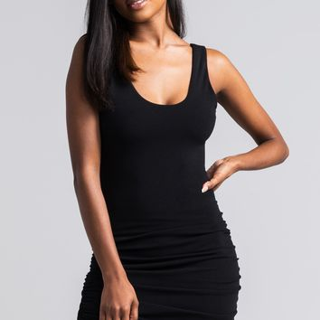 AKIRA Ruched Side Scoop Neck Low Back Mini Dress in Black