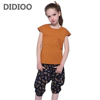 Kids Outfits Cotton Short Sleeve T-Shirt For Girls Pants 2Pcs Summer Floral Shorts Girls Tees School Clothes