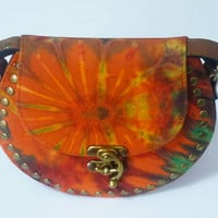 Tie dye bag Orange shoulder bag fake leather bag /round handbags wide 20.5 cm. Cross body bag