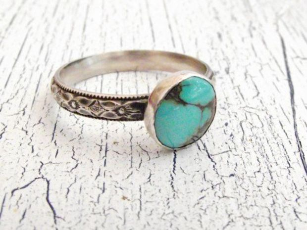 Sterling Silver Turquoise Ring Diamond Design Band