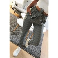 2018 New elegant Houndstooth plaid pants pockets  retro office lady wear casual fashion with sash trousers mujer