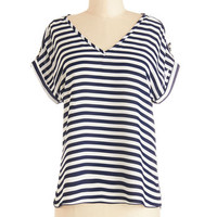 ModCloth Nautical Short Sleeves Pastry Picks Top in Stripes