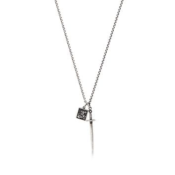 Men's Silver Necklace with Dagger and Saint George and The Dragon Pendant