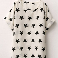 Star Print Short Sleeve Chiffon T-Shirt