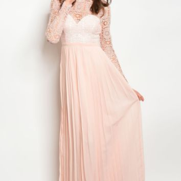 Lace Overlay Empire Waist Dress