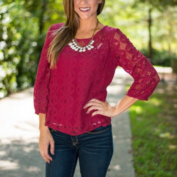 Lizzy Lace Top, Burgundy