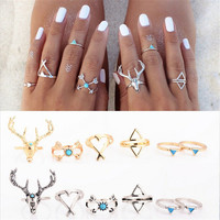 6pcs/set Bohemian Deer Rings for Women Arrow Antler Midi Knuckle Ring Set RI095