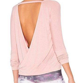 Mippo Womens Sexy Backless Long Sleeve T Shirt Casual Open Back Cross Knot Top