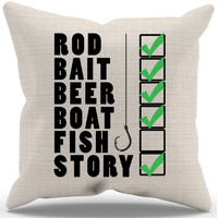 Fishing Checklist Pillow Case