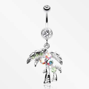 Summer Bliss Palm Tree Belly Button Ring