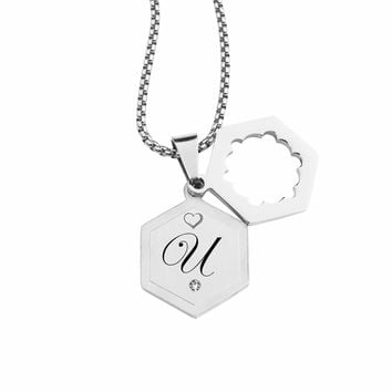 Double Hexagram Initial Necklace With Cubic Zirconia By Pink Box - U