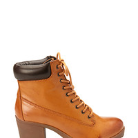 FOREVER 21 Faux Leather Hiking Booties Tan/Dark Brown