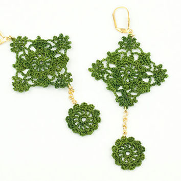 Green Lace Earrings - Crochet Lace - Lace Statement Earrings - Geometric Earrings - Lightweight - Fiber Art Jewelry