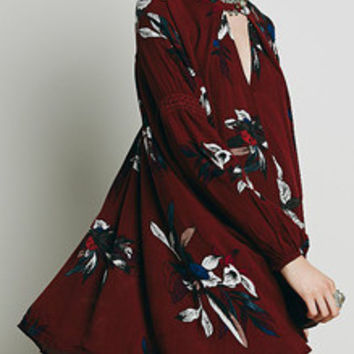 Floral Dress Spring - Burgundy  Red Oxblood Baggy Long Sleeve Floral Flowery Dress