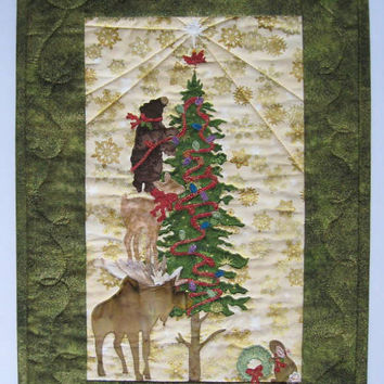 Christmas Art Quilt Wall Hanging Handmade Christmas Decor