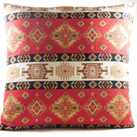 Red Turkish Pillow Cover - Red Ethnic Tribal with Brown Suede Pillow Cushion 18 x 18 inch