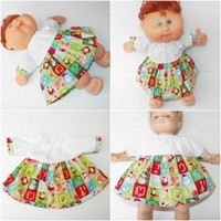 "Cabbage Patch Clothes fits 14"" or 15"" Bitty Baby HANDMADE Christmas Santa Dress"