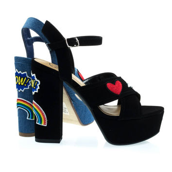 Pazia Black By Delicious, Graphic Embroidery Emoji Patch Stich Work Block Heel Platform Sandal