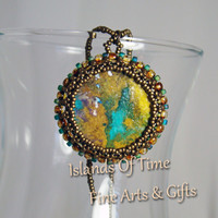 Teal and Brown Pendant Necklace - Islands Of Time