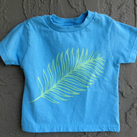 Florida Tropical Palm Leaf Toddler Tshirt in Mint Green and Blue