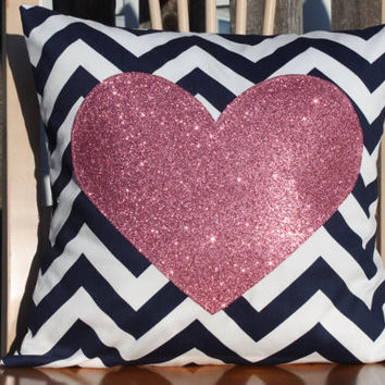 Modern Sparkle Heart Pillow Cover  Pink Heart on by nest2impress