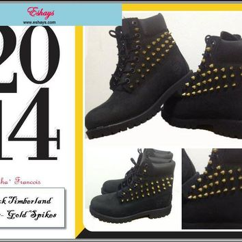 custom-spiked-black-timberland-blank-tongue number 1