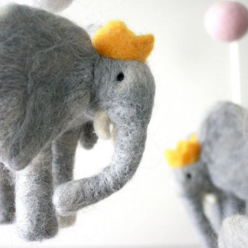 Babar Inspired Baby Mobile, 5 figures, 5 Balls, Custom Felted Mobile with Elephants with Crowns, Pink and White Accent Poms