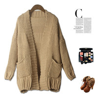 Vintage Simple Design With Pocket Thicken Sweater Jacket [4918277636]