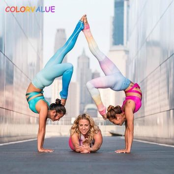 Colorvalue Stunning Gradient Color Yoga Leggings Women Flexible Dance Running Tights Breathable High Waisted Exercise Leggings
