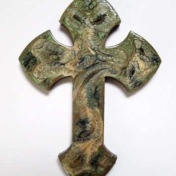 Decorative Cross hand painted in olive green and tan
