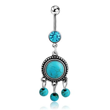 New Charming Dangle Crystal Navel Belly Ring Bling Barbell Button Ring Piercing Body Jewelry = 4661793668
