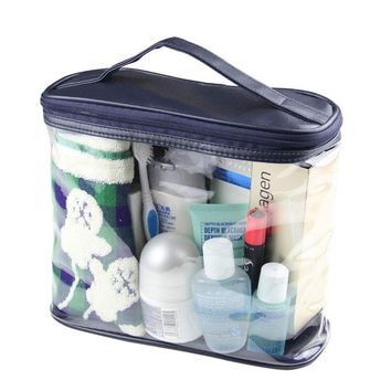 2017 New Fashion Casual Clear Case Cosmetic MakeUp Bag Dark Blue Transparent Hanging Toiletry Travel Trunk Large Organizer