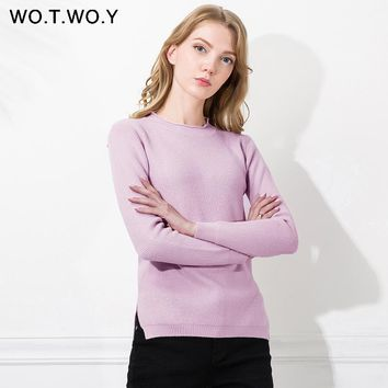 WOTWOY Autumn Winter Cashmere Sweaters Women Pullovers Split Long sleeve Jumpers O-Neck Solid Women knitwear Sweater Pull Femme