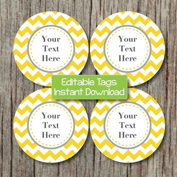 Printable Tags Editable JPG File Yellow Grey Chevron Labels INSTANT DOWNLOAD Digital Cupcake Toppers Favor Tags Stickers Baby Shower 002