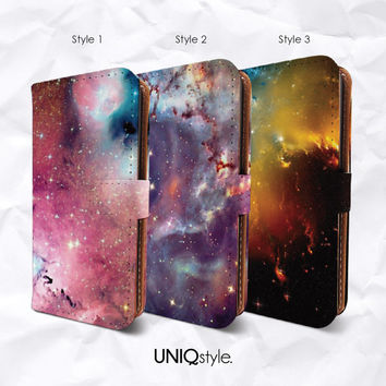 Galaxy sky PU leather flip case for iPhone 4/4s 5/5s 5c, MotoX, Samsung S3 S4 S5 Note3 - nebula space wallet case w/ standing function - I20