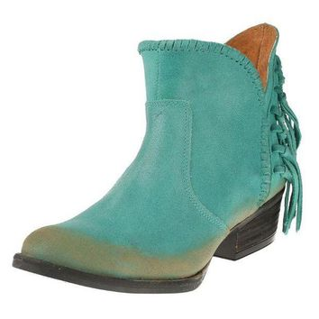 ESBYW3 Circle G by Corral Turquoise Fringe Shortie Boots
