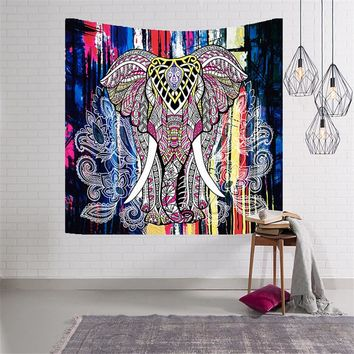 Indian Elephant Tapestry Wall Hanging Ganesha Throw Beach Towel Coverlet Door Curtain 150x102cm 150x130cm 200x150cm 229x150cm