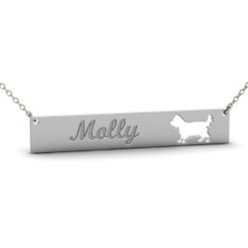 Sterling Silver YORKSHIRE TERRIER Dog Name Bar Necklace