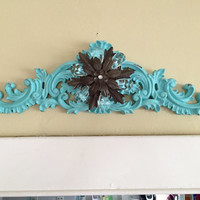 Large pediment with Metal Flower, tiffany color, robins egg blue