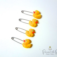 Yellow Ducky Diaper Pins - Baby Shower, Rubber duck, cloth diaper, diaper cover, Diaper Cake