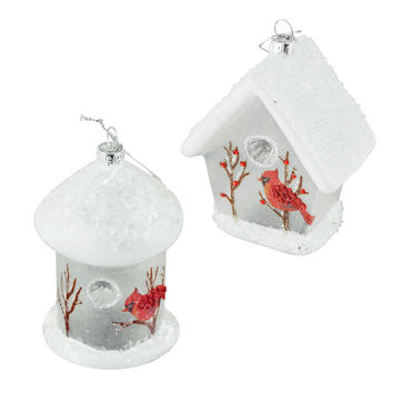 White Birdhouse Noble Gems Christmas Ornaments, Assorted, 4-3/4-Inch, 2-Piece