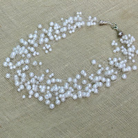 White Necklace. Bridal Necklace. Wedding Necklace. Beadwork. Multistrand Necklace.