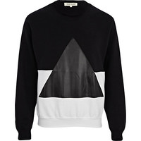 River Island MensBlack and white two-tone triangle sweatshirt