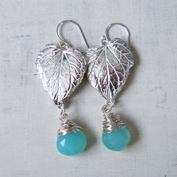 Silver Chandelier Leaf Earrings with Tiffany Blue Wirewrapped Briolettes