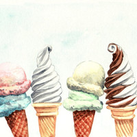 Ice Cream Cones Soft Serve - Print of Original Watercolor 6 x 9 - Two Scoops Dairy Queen Vanilla Chocolate Swirl
