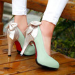 Womens mixed-color large size bowknot stilettos high heels shoe Faux leather