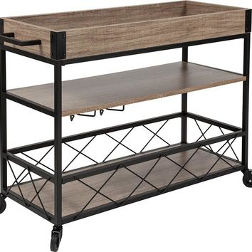 Buckhead Distressed Light Oak Wood and Iron Kitchen Serving and Bar Cart with Wine Glass Holders [NAN-JH-17105-GG]